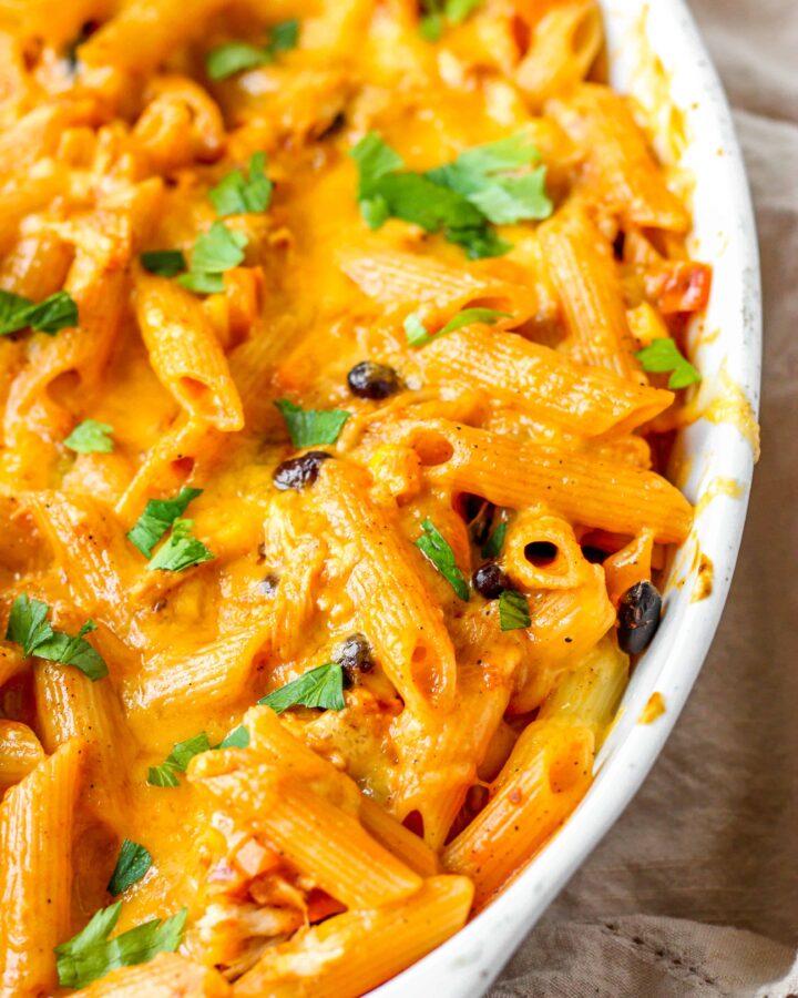 close shot of the fajita pasta bake in the casserole dish