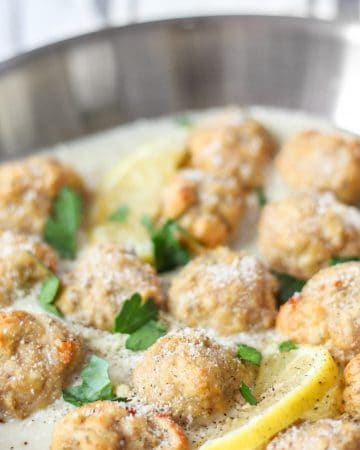 baked meatballs in piccata sauce