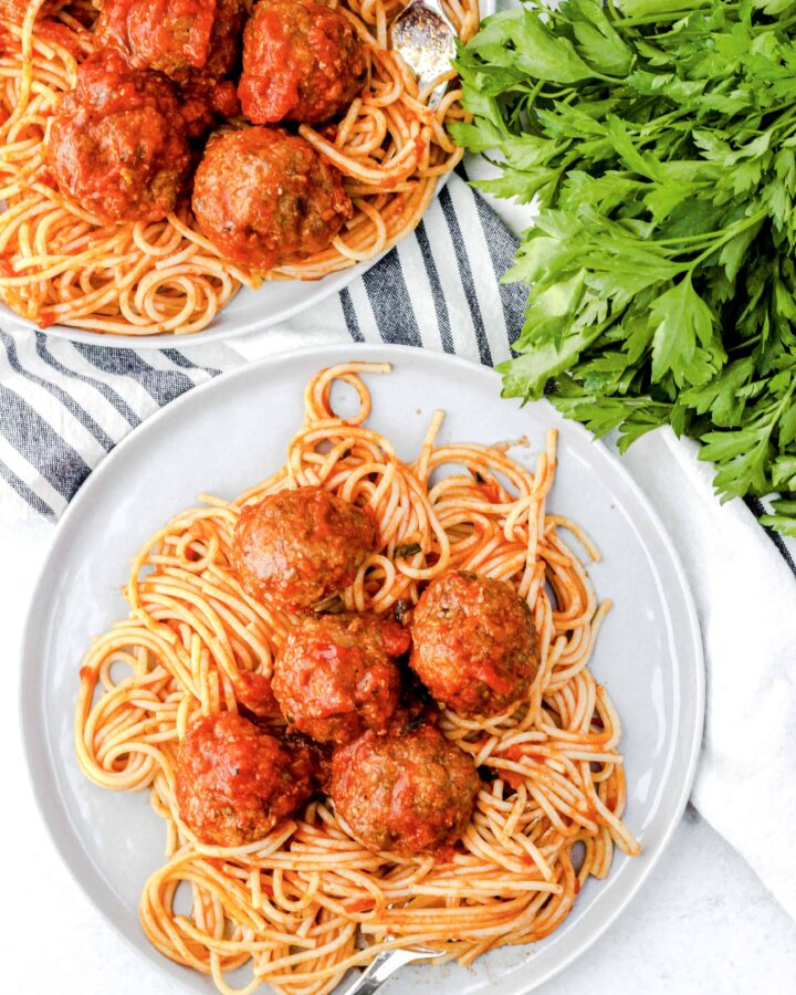 easy baked meatballs on a grey plate