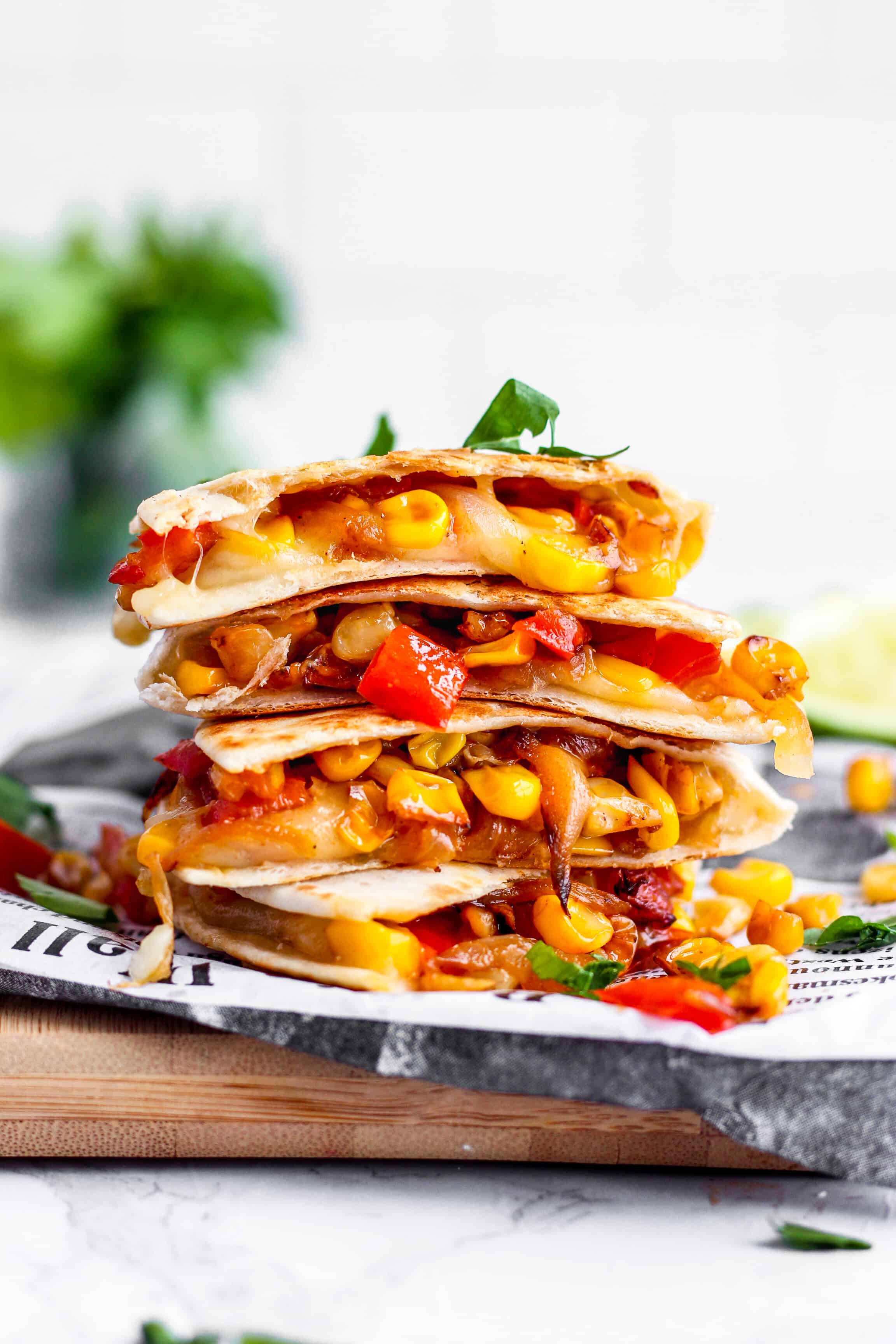 Red Pepper And Corn Vegetarian Quesadillas A Seasoned Greeting