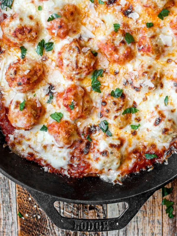 Chicken Parm Meatballs in a Cast Iron Skillet