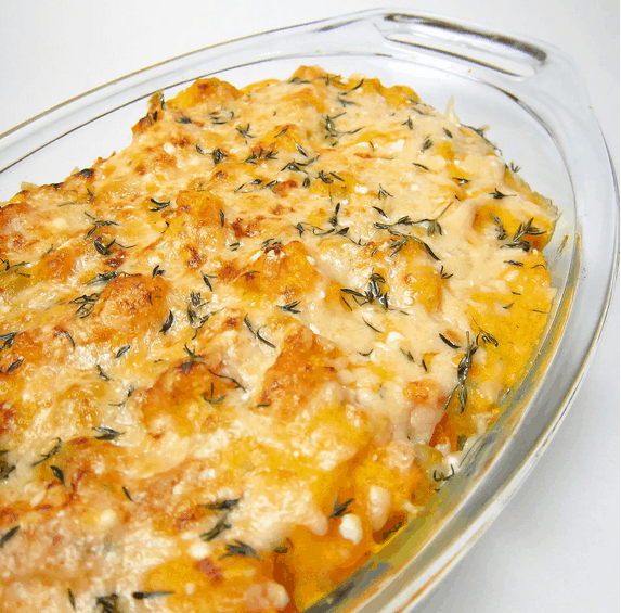 Baked Chickpeas and Butternut Squash in a glass dish