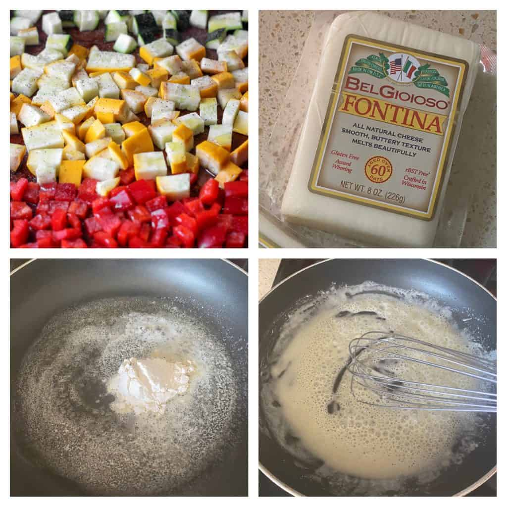 collage of 4 photos. Upper left: the diced veggies Upper right: a block of the cheese Lower left: The flour added to the melted butter Lower right: whisking the flour into the melted butter.