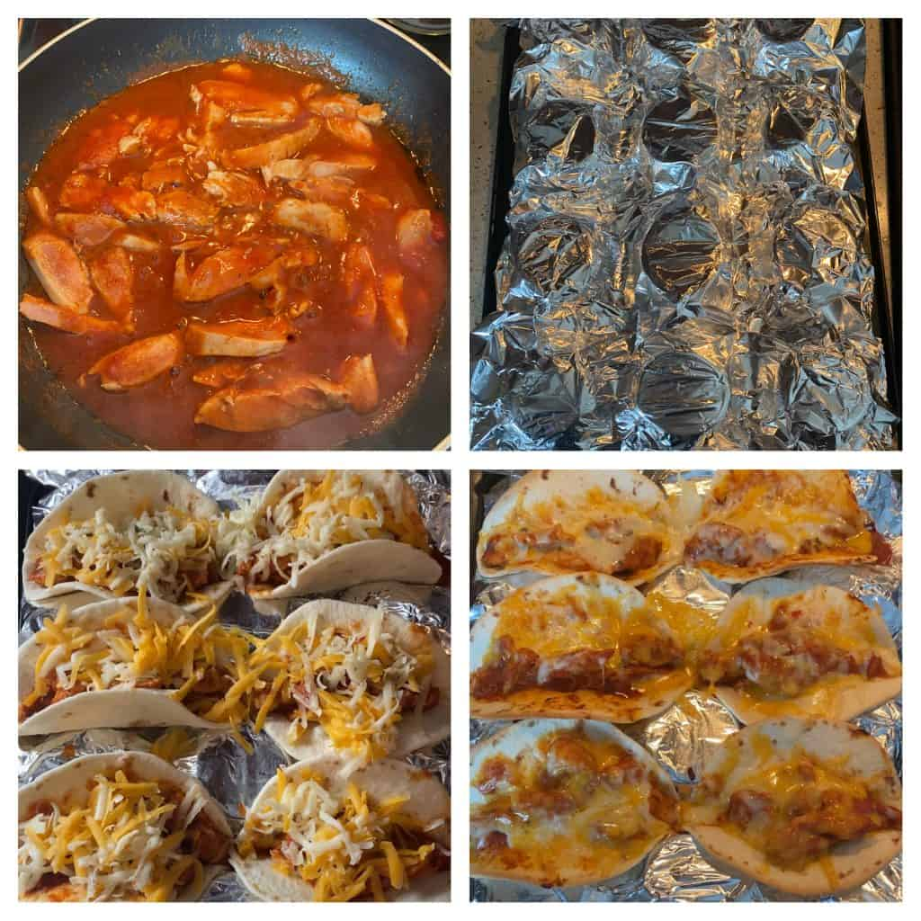 Collage of 4 photos. Upper left; the chicken cooking in the enchilada sauce. Upper right: upside down muffin tin covered in foil. Lower left: the stuffed tacos in the upside down muffin tin. Lower right: the tacos after baking.