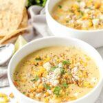 two bowls of creamy corn chowder