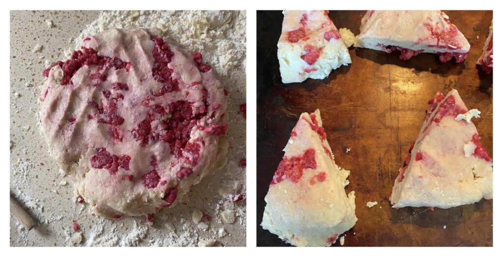 Collage of two photos. On the left the raw dough in a circle, on the right the sliced scones on a baking sheet.