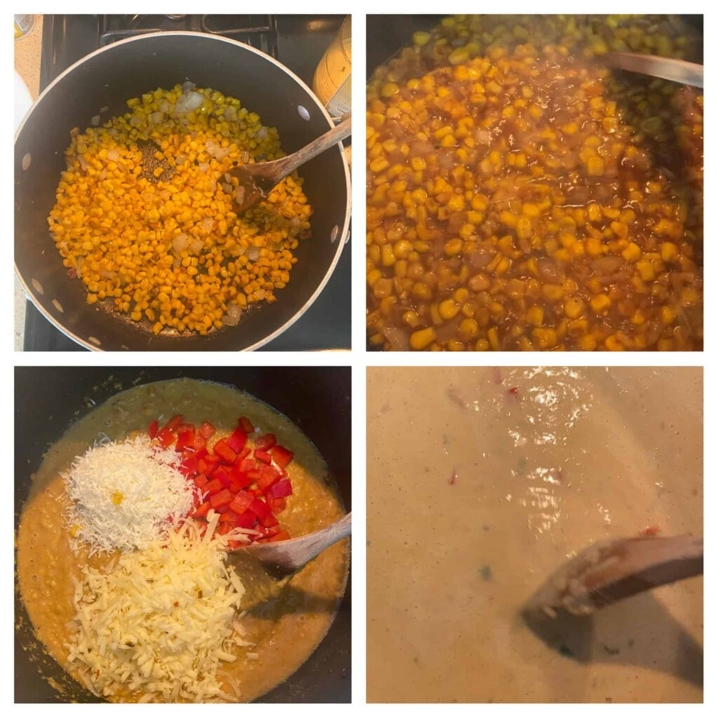 step by step photos of making the chowder Upper left: the charred corn in the pot. Upper right: the broth added to the pot. Lower left: Cheeses and peppers added to the pot. Lower right: stirring the half & half added into the pot.