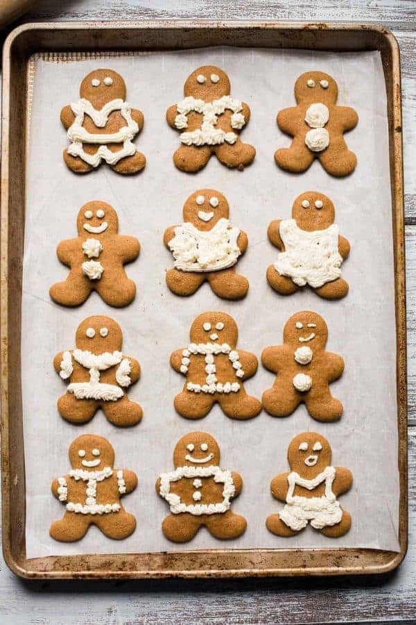 overhead shot of decorated gingerbread men on a baking sheet.