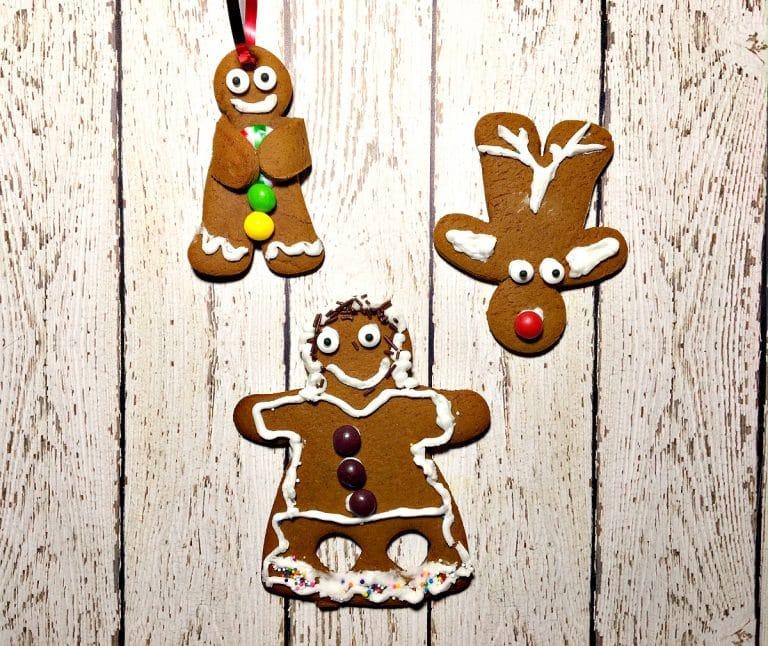 overhead shot of decorated gingerbread men.