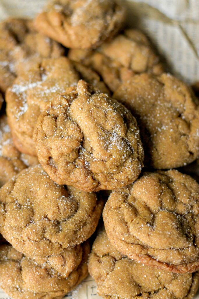 overhead shot of a pile of molasses cookies.