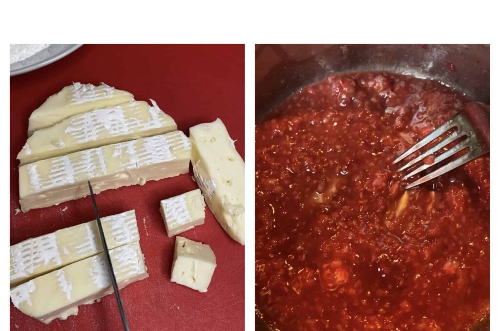 Left photo is slicing the cheese wheel into bites, the right photo is making the raspberry sauce.
