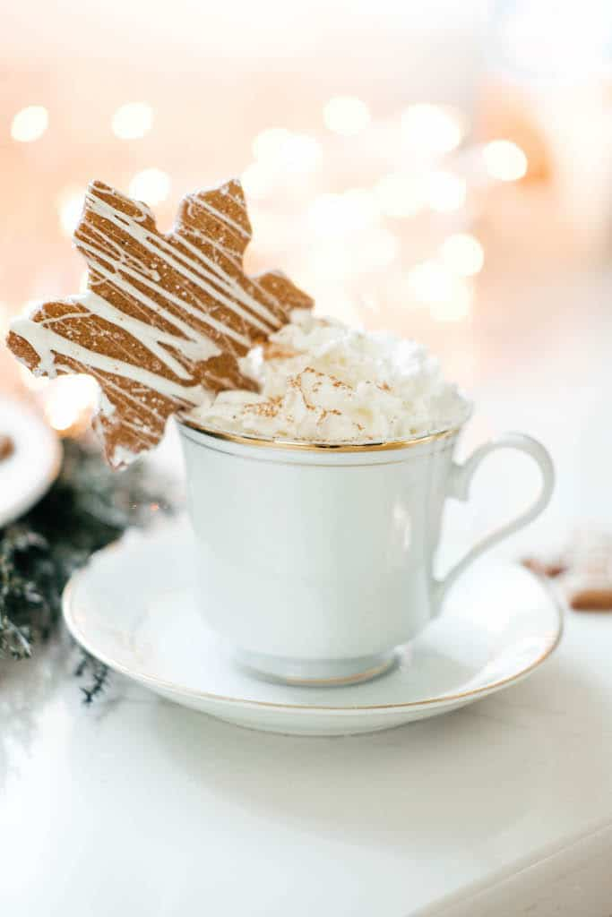 a white mug with whipped cream with a star shaped gingerbread on the rim.