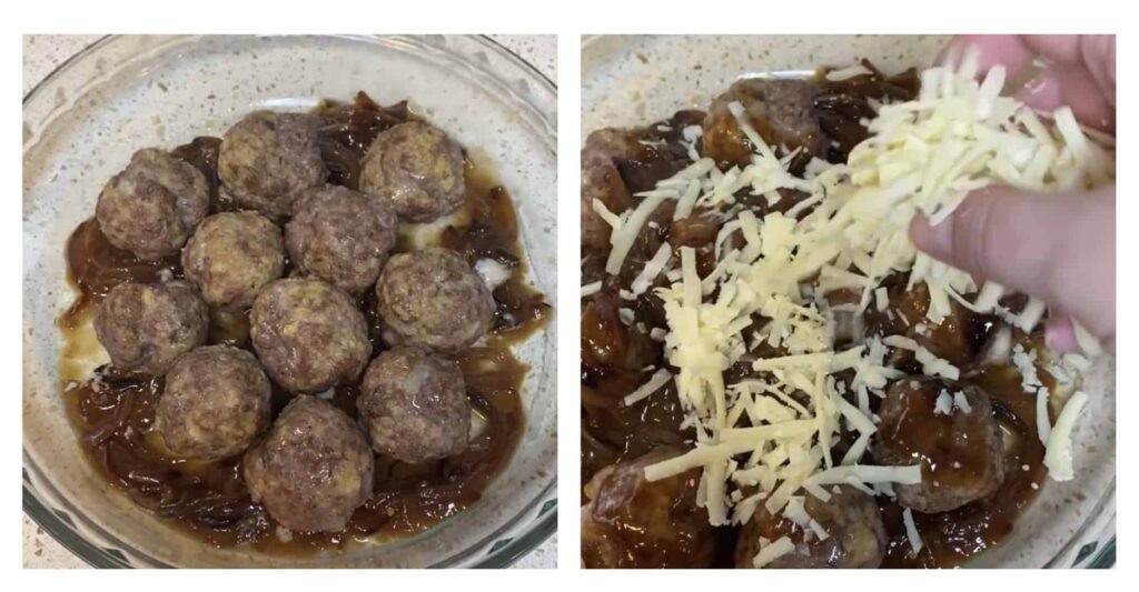two photos side by side, left photo are the raw meatballs in the baking dish and the right photo is getting the cheese sprinkled on.