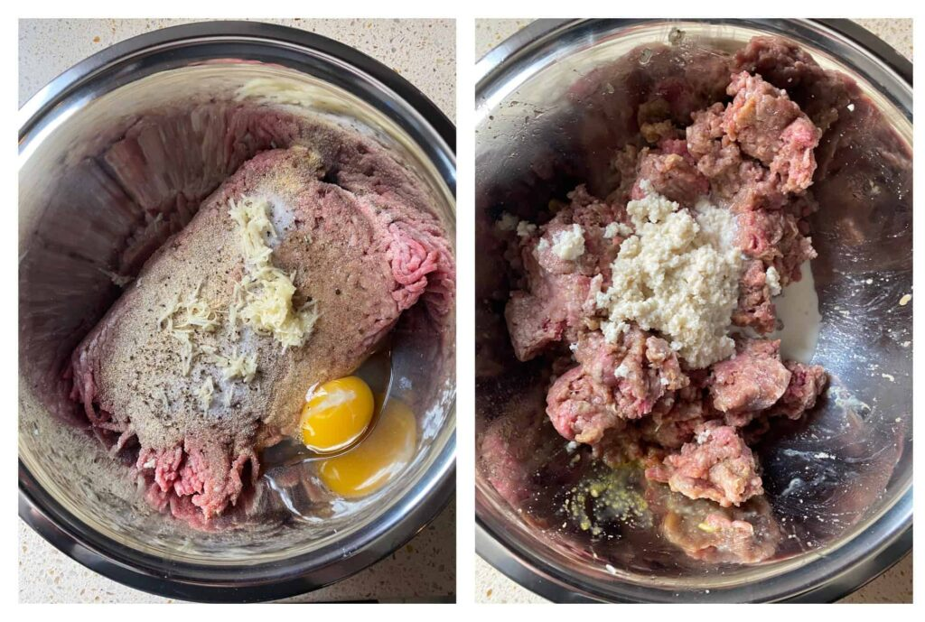 overhead side by side photos of the ground beef mixture then with the Panko mixture added on top.