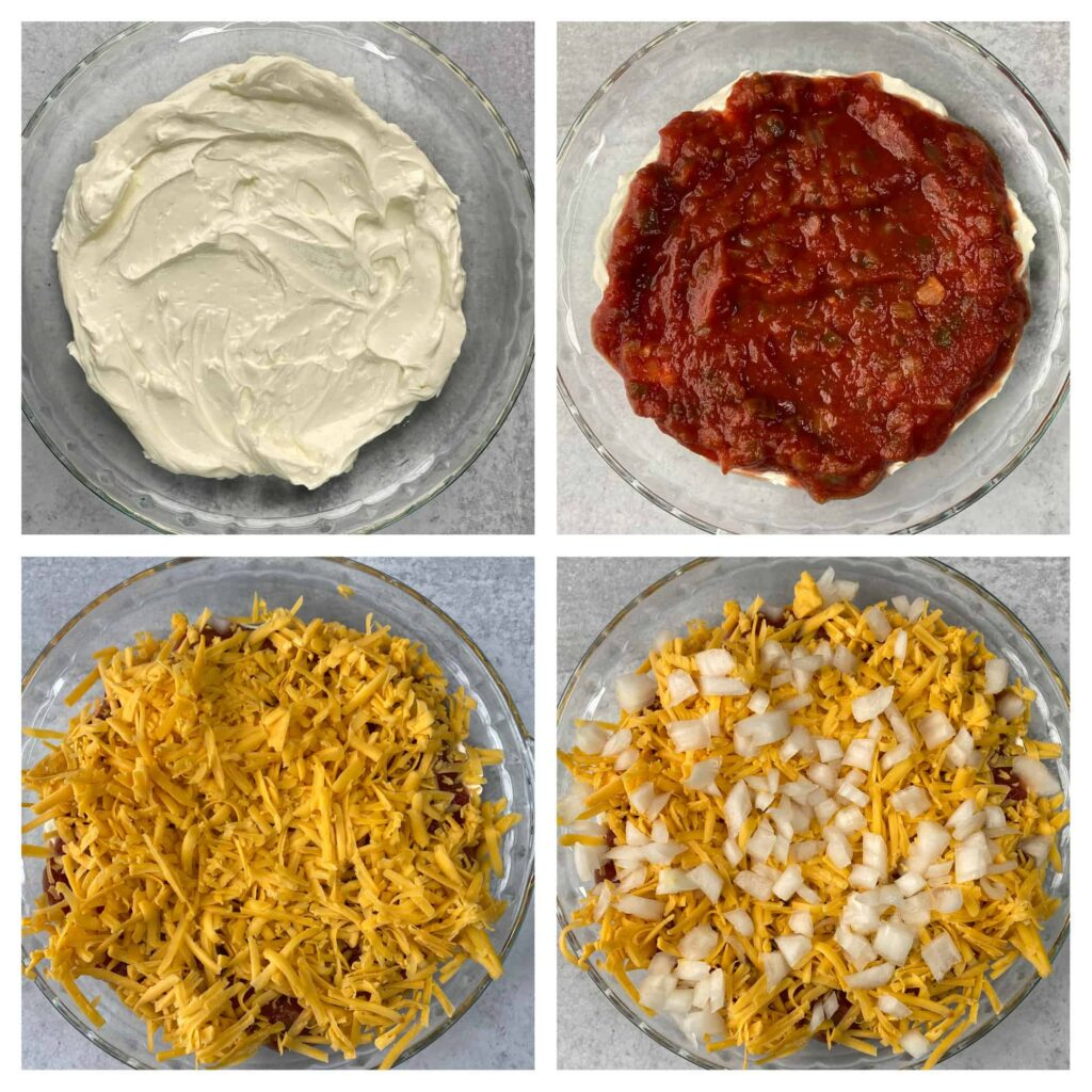 collage of 4 photos showing step by step making the salsa dip.  Top left: cream cheese blend in the pie plate. Top right: salsa added to the top Bottom left: shredded cheese now added Bottom right: Diced onions now added to make the dip complete.