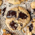 chocolate chunk cookies on brown newsprint paper