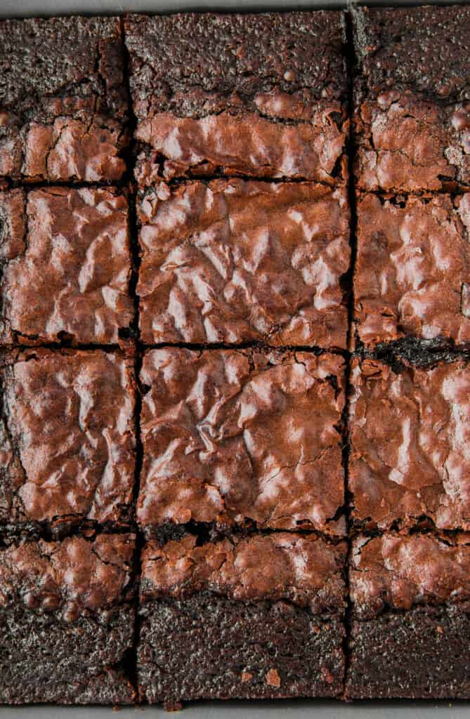 overhead shot of the baked brownies sliced into brownies