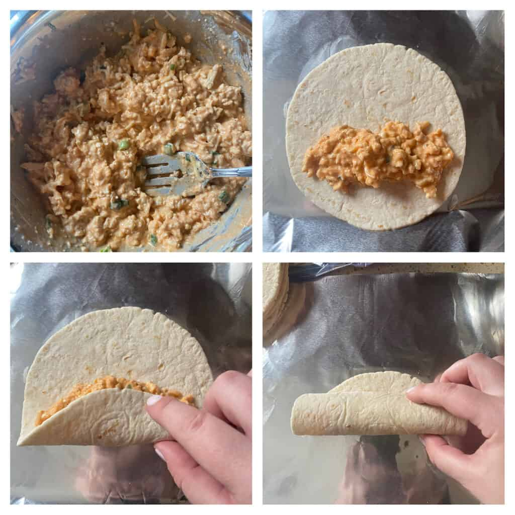 process shots, collage of 4 photos.  Upper left: the ground chicken mixture. Upper right: the mixture spooned onto a flat tortilla. Lower left: hand beginning to roll up the tortilla. Lower right: hand nearly rolling the tortillas closed completely.