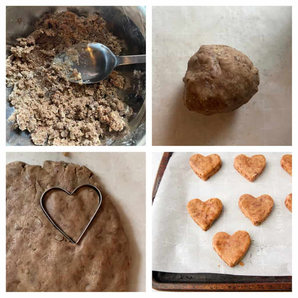 collage of 4 photos. Upper left: the cookie dough mix in a bowl. Upper right: the cookie dough in a dough ball. Lower left: the heart shaped cookie cutter in the dough. Lower right: the cut out cookie dough hearts on a parchment paper lined baking sheet.