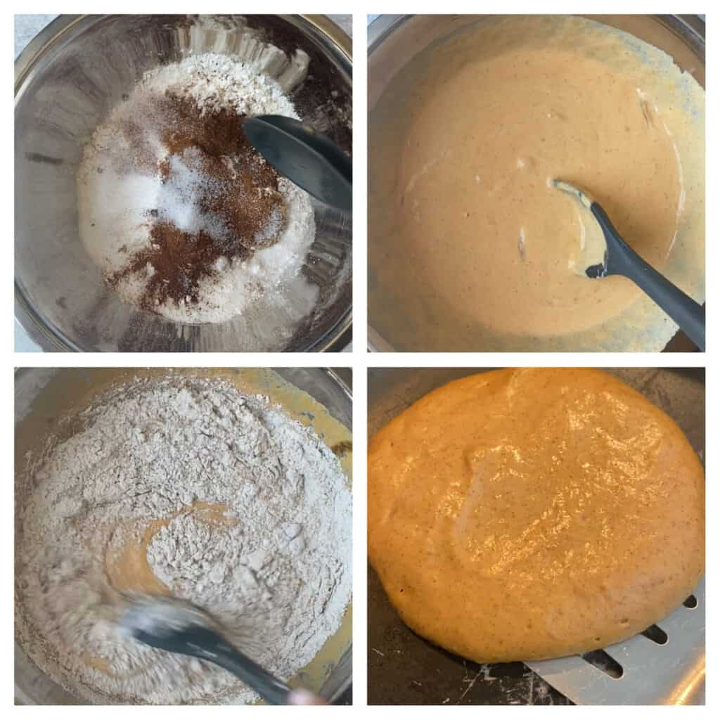 collage of 4 photos. Upper left: mixing the dry ingredients. Upper right: mixing the wet ingredients. Lower left: mixing the dry and the wet Lower right: flipping a pancake.