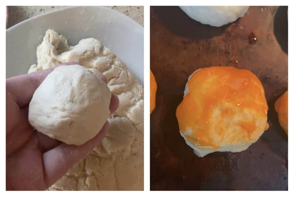 side by side photos. Left shows holding one of the smaller dough balls. Right shows the dough balls covered in the Buffalo sauce.
