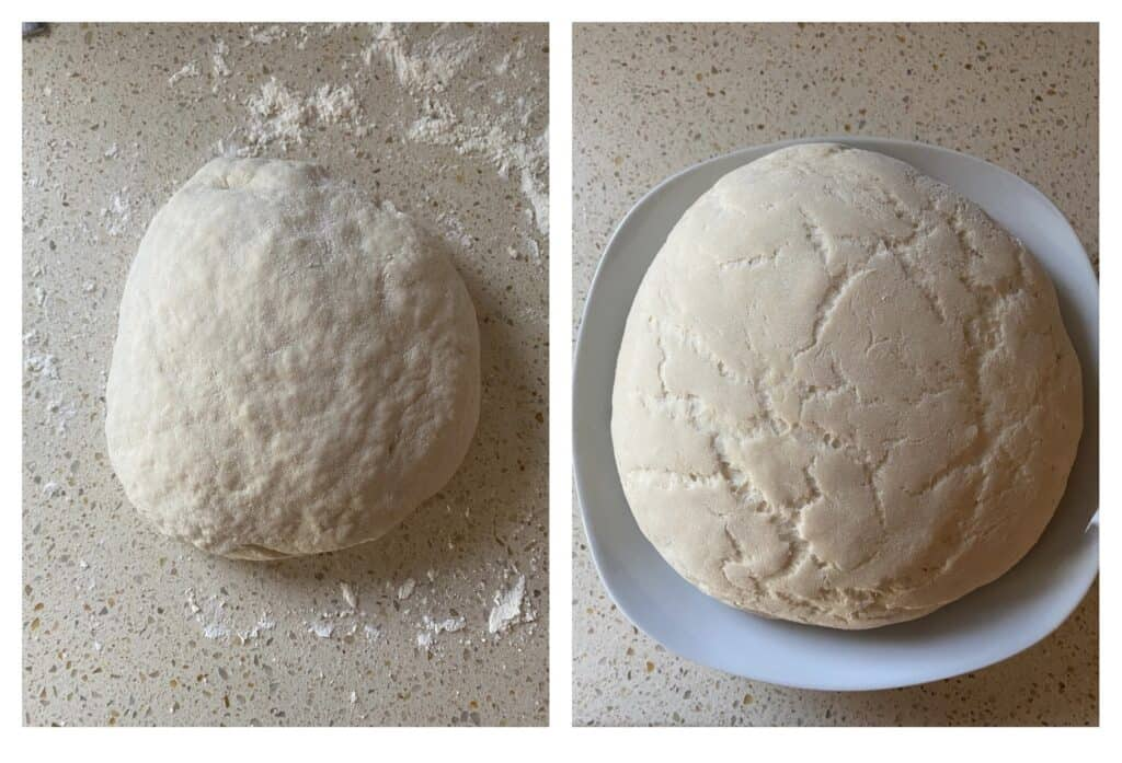 side by side photos of the dough. Left shows dough after kneading, right photo shows dough after it's risen for an hour.