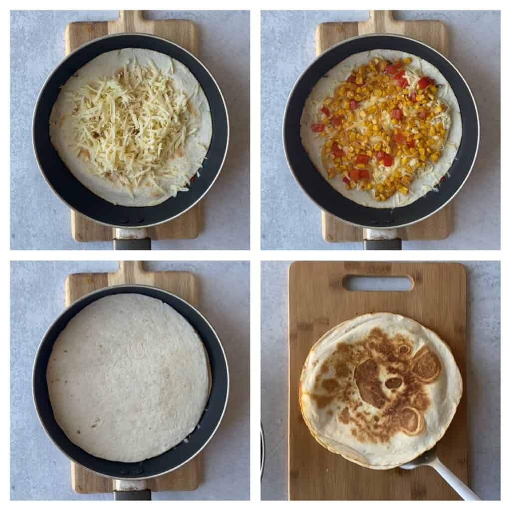 overhead process shots, collage of 4 photos. Upper left: the tortilla in the pan topped  with cheese. Upper right: now topped with the corn and red peppers. Lower left: topped with the upper tortilla. Lower right: the completed cooked quesadilla.