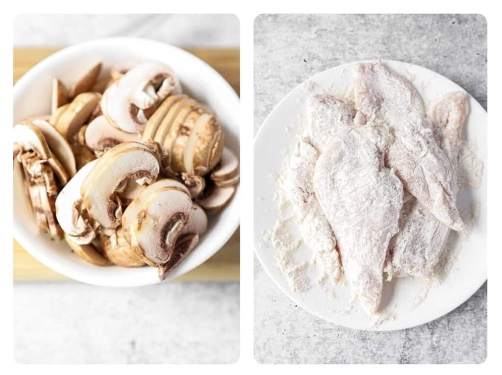 side by side photos: left photo is sliced mushrooms in a bowl. Right photo is chicken breasts coated