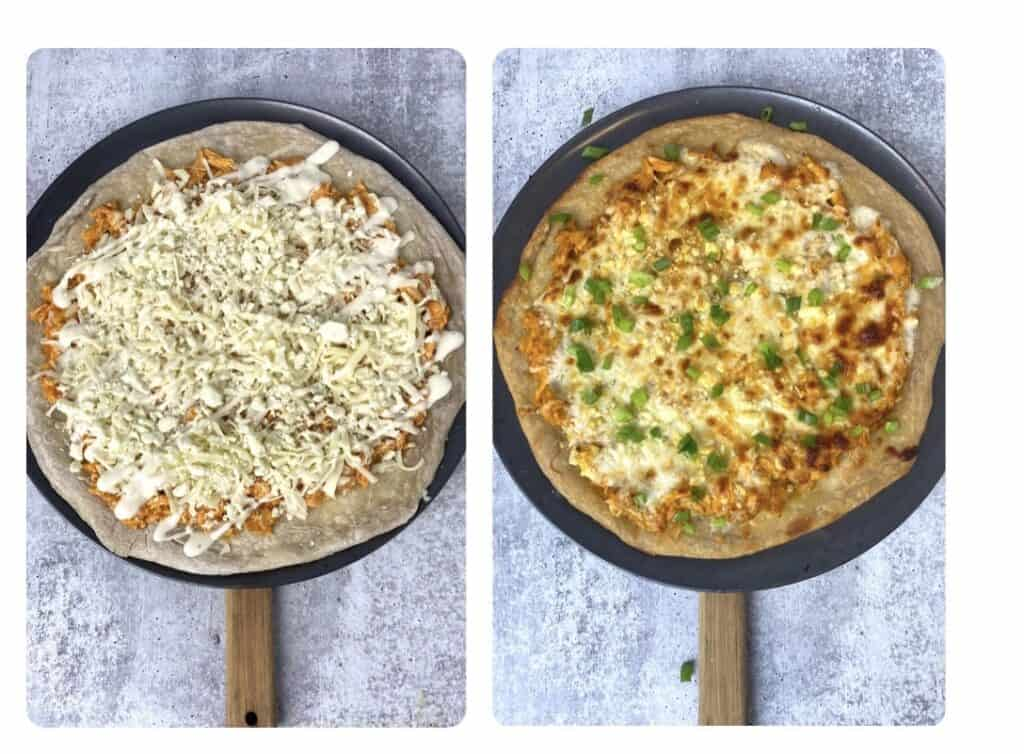 side by side photos. Left photo shows the pizza drizzled with ranch. Right photo shows the finished baked pizza topped with scallions.