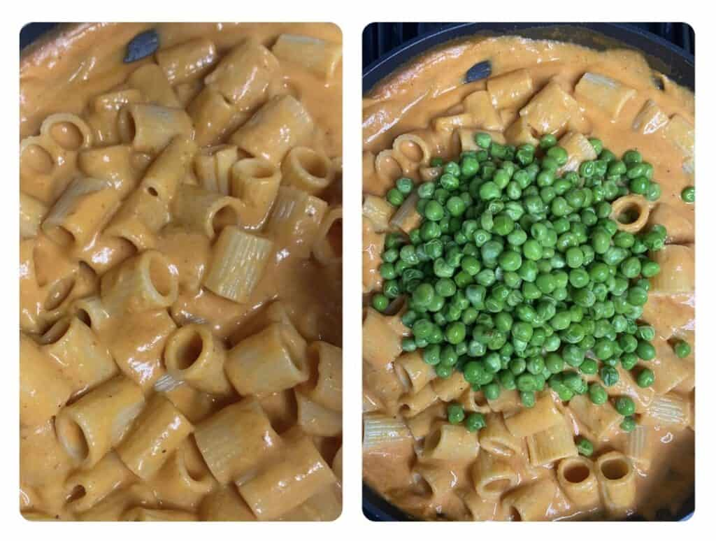 two photos side by side. Left shows the rigatoni vodka sauce in the pan. Right shows pasta now topped with the peas.