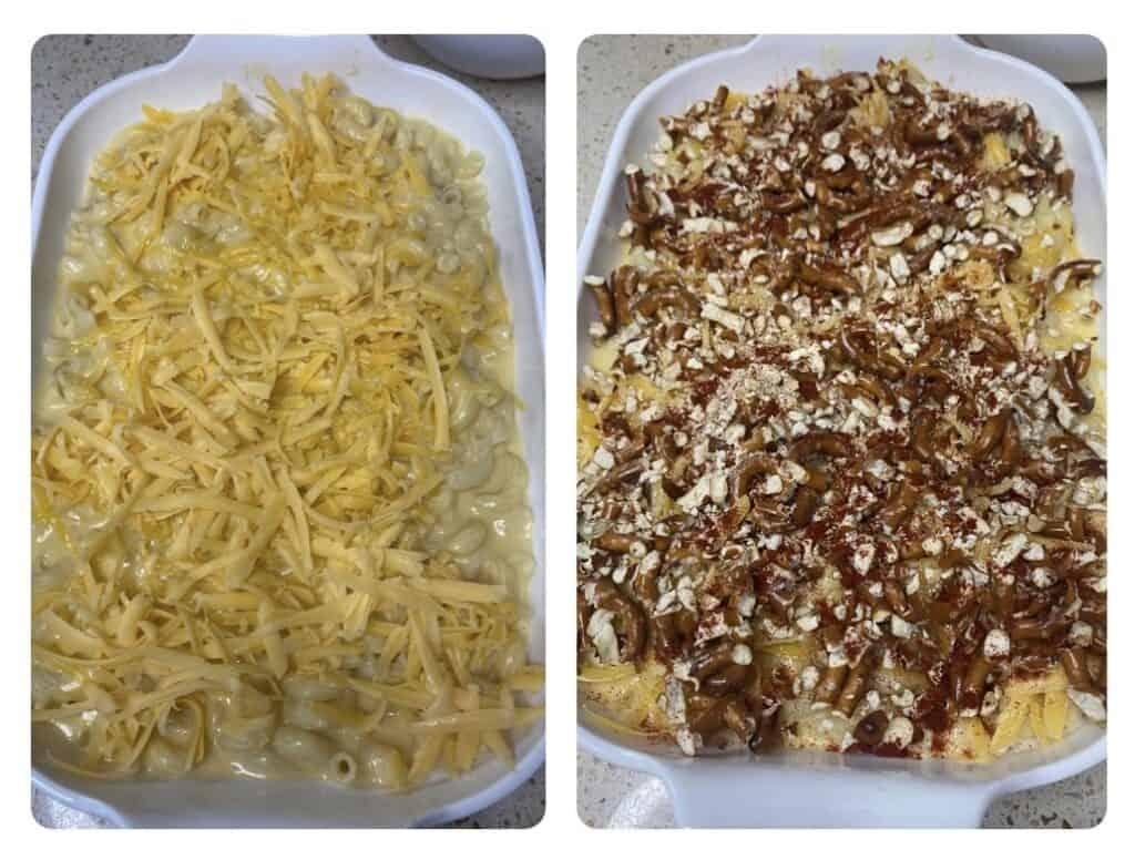 side by side photos. Left shows the mac and cheese in the baking dish topped with more shredded cheese. Right photos shows it now topped with the crushed pretzels.